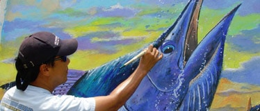 Charey Chen Painting Blue Marlin